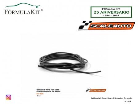Cable guía 0,9mm. Negro Siliconado y Trenzado